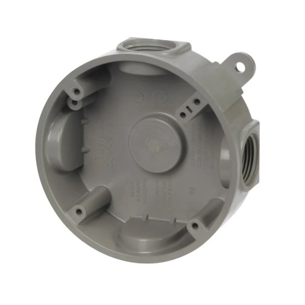 Taymac  4-3/8 in. H Round  1 Gang  Outlet Box  1/2 in. Gray  Plastic