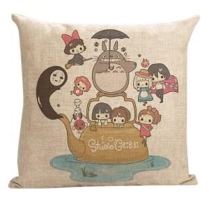 Vintage Home Decor Cotton Linen Throw Pillow Cover I Love Studie - Tan/Pink