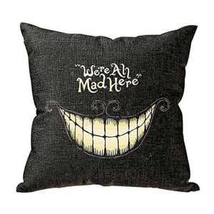 Vintage Home Decor Cotton Linen Throw Pillow Cover Were All Mad Here - Black/White