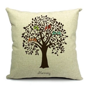 Vintage Home Decor Cotton Linen Throw Pillow Cover Harmony Tree - Tan/Black