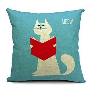 Vintage Home Decor Cotton Linen Throw Pillow Cover Cat Reading with Glasses - Light Blue/Red/White