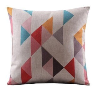 Vintage Home Decor Cotton Linen Throw Pillow Cover Colorful Abstract - Tan/Light Blue/Red
