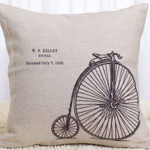 Vintage Home Decor Cotton Linen Throw Pillow Cover W.s Kelley Bicycle - Black/Tan