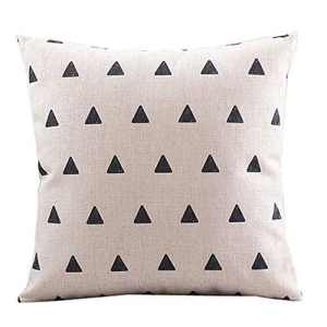 Vintage Home Decor Cotton Linen Throw Pillow Cover Black Triangle Pattern - Beige