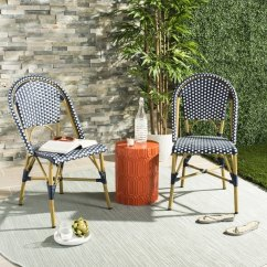 Outdoor French Bistro Chairs Swivel Chair With Tablet Arm Shop Safavieh Salcha Indoor Navy White Stacking Side Set Of
