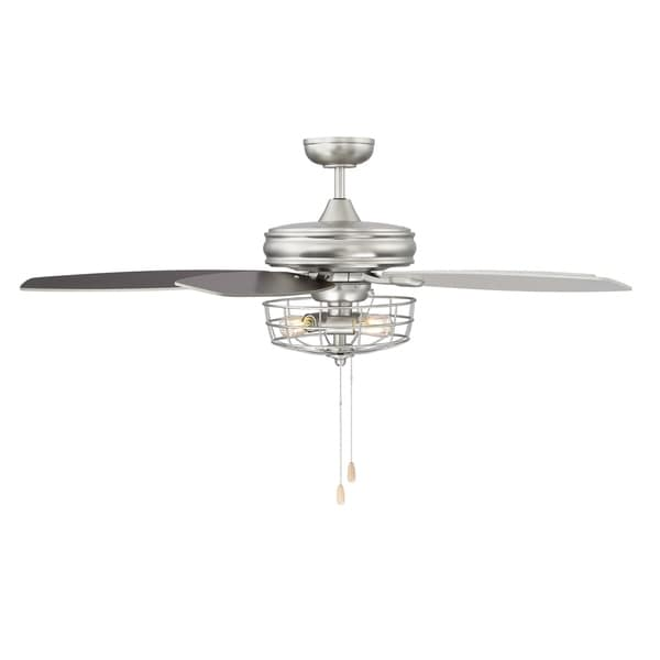 Shop 52 in. 3-Light Brushed Nickel Ceiling Fan with Metal