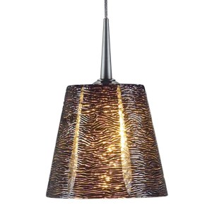 Bruck Lighting Bling Matte Chrome Line Voltage Pendant with Black Textured Hand Blown Glass - Silver