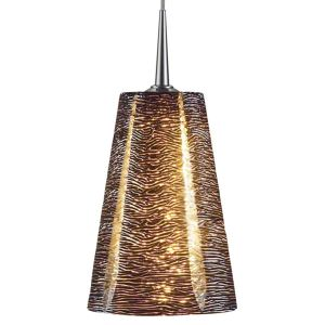 Bruck Lighting Bling Chrome Line Voltage Pendant with Black Textured Hand Blown Glass - Silver