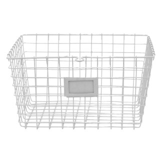 Black Finish Metal Wire Square Nesting Basket with Handles