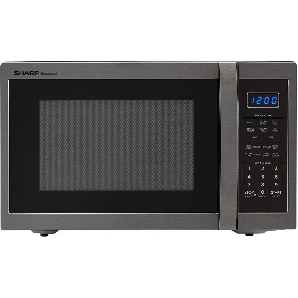 sharp carousel 1 4 cu ft 1100w countertop microwave oven in black stainless steel