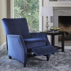 Navy Blue Leather Club Chair Tufted Wingback Recliner Chairs And Rocking Recliners For Less Overstock