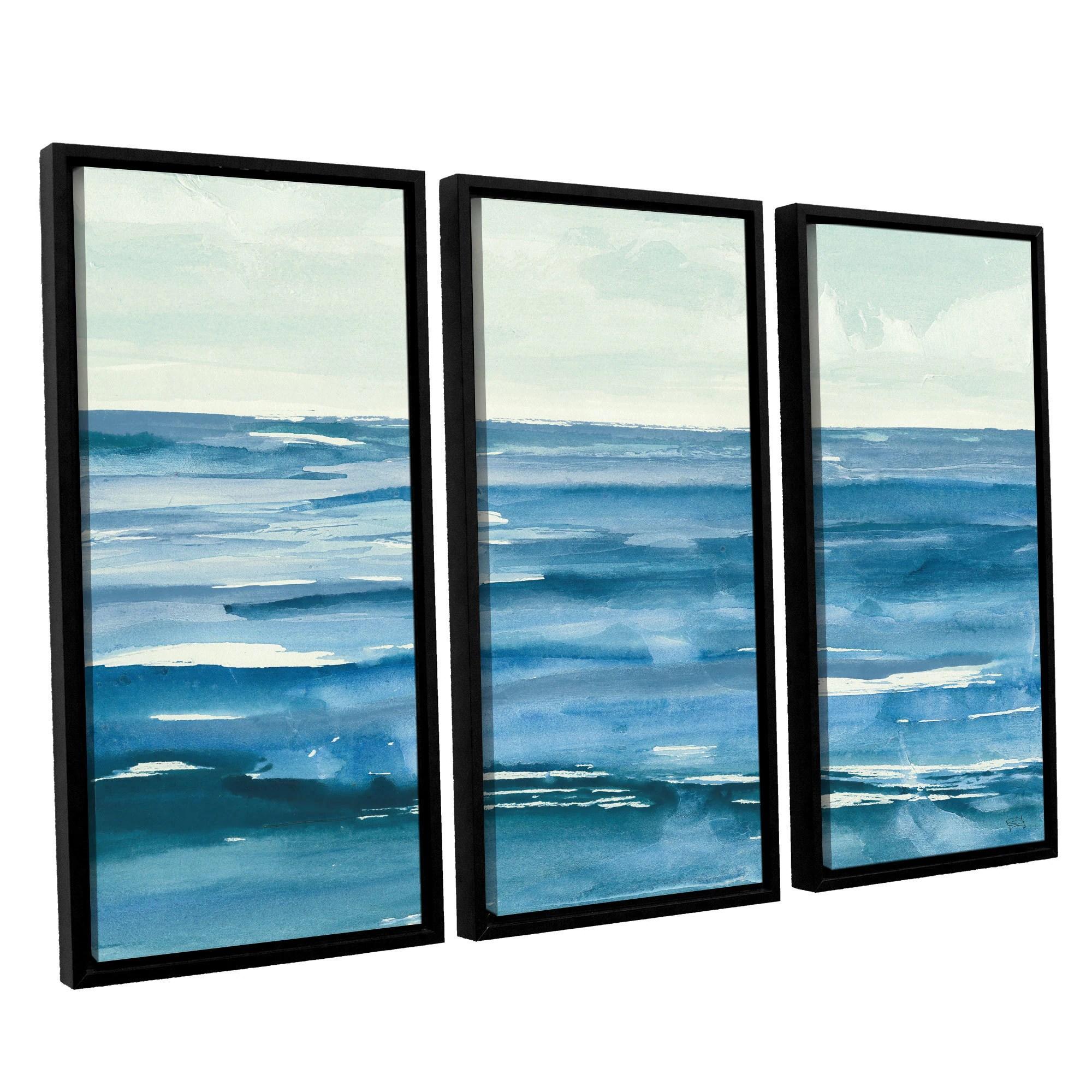 Chris Paschke's 'Seascape III' 3 Piece Floater Framed Canvas Set
