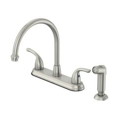 Brushed Nickel Kitchen Faucet With Sprayer Pull Down Shop Oakbrook Pacifica High Arc Two Handle Side Included
