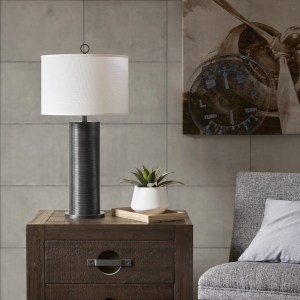 INK+IVY Ralston Black 30-inch Table Lamp with White Drum Shade