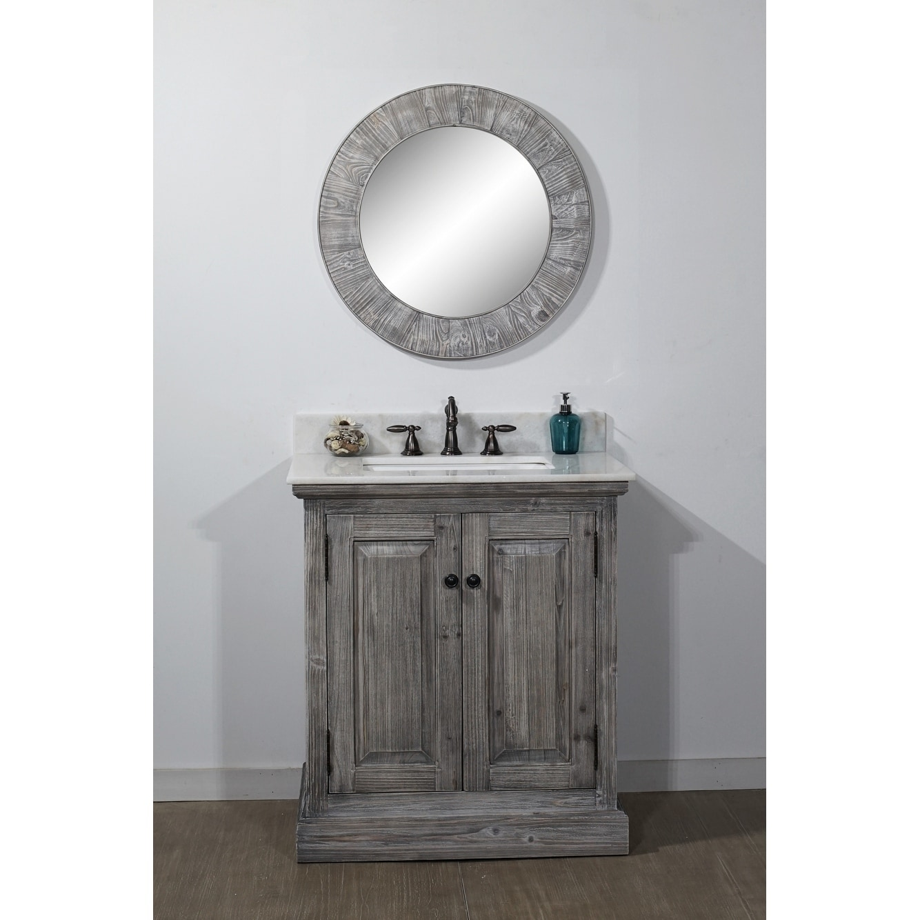 Shop Rustic Style 31 Inch Bathroom Vanity In Grey Driftwood Finish With Arctic Peart Quartz Top No Faucet Overstock 18185190