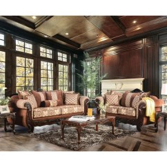 2 Piece Living Room Furniture Statues Shop Of America Leticia Traditional Brown Damask Sofa Set