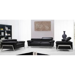 3 Piece Black Leather Living Room Set Best Colors To Paint A With Brown Furniture Shop Edison Modern Chrome Legs