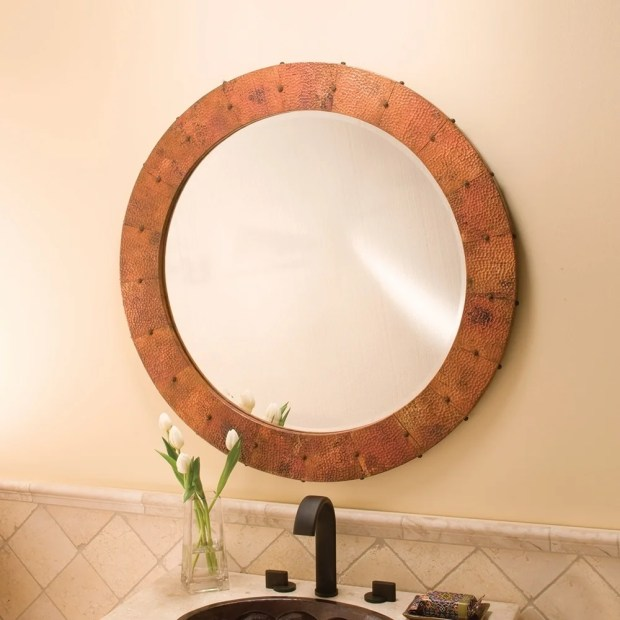 Tuscany Tempered Copper Round Mirror - tempered copper