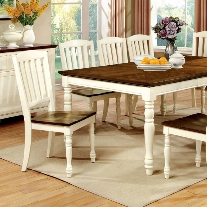 harrisburg cottage dining table vintage white dark oak finish