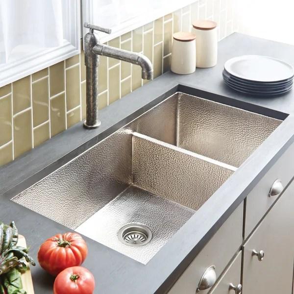 cocina duet pro hammered brushed nickel double bowl kitchen sink