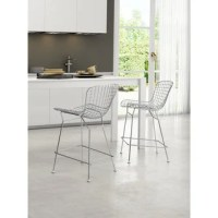Mod Made Mid Century Modern Chrome Wire Barstool with Faux ...