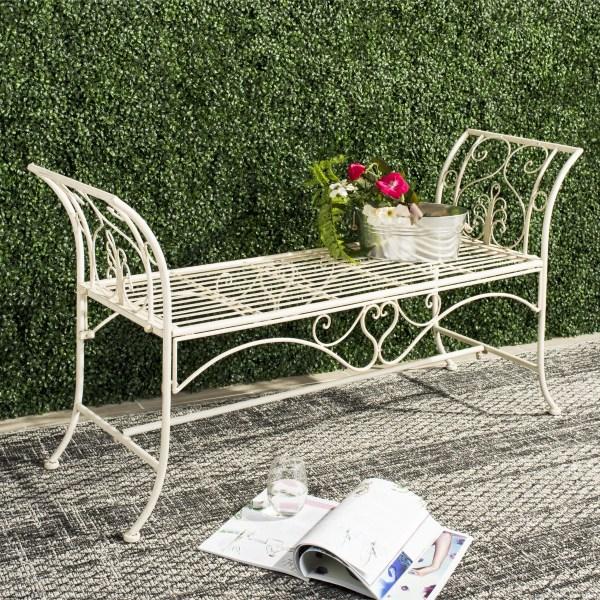 Outdoor Wrought Iron Metal Rustic Garden Bench Patio Porch