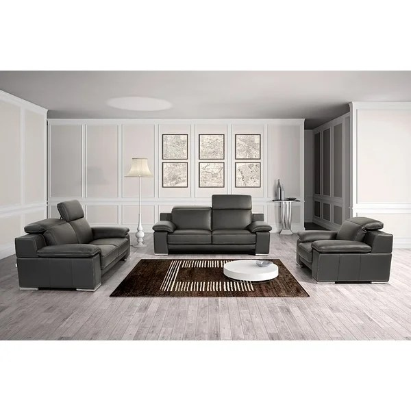 3 piece black leather living room set floral chairs shop marcelino italian genuine