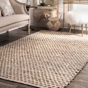 The Curated Nomad Hunsiker Brown/ Tan Natural Fiber Jute Textured Basketweave Handmade Area Rug - 5' x 8'