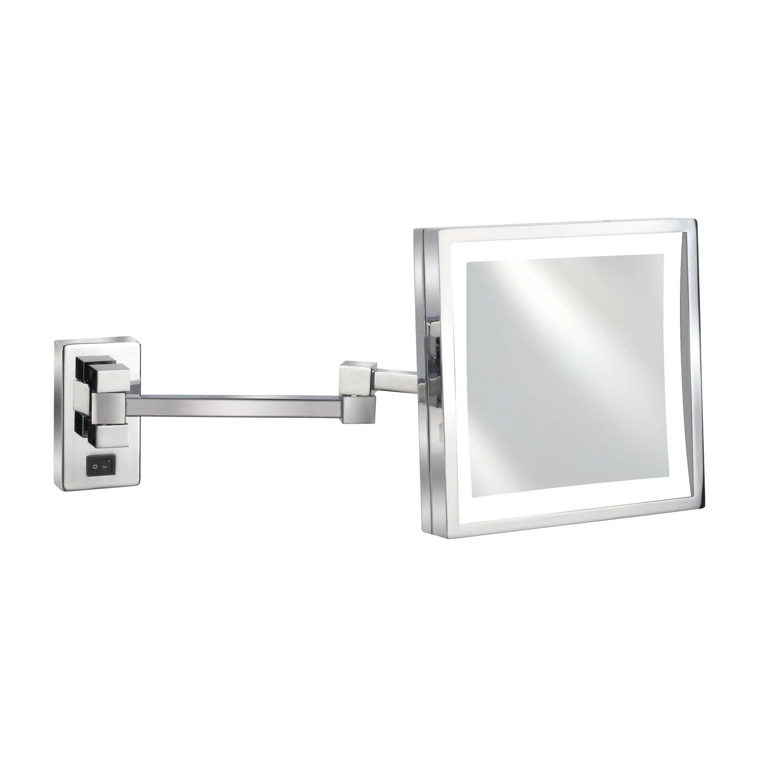 Shop Black Friday Deals On Empire 5x Magnification Wall Mount 8 X 8 Lighted Makeup Mirror Polished Chrome Overstock 18591378