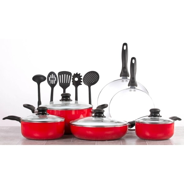kitchen pan set ninja mega system costco shop 15 piece ceramic cookware cooking w utensils red on sale free shipping today overstock com 18610720