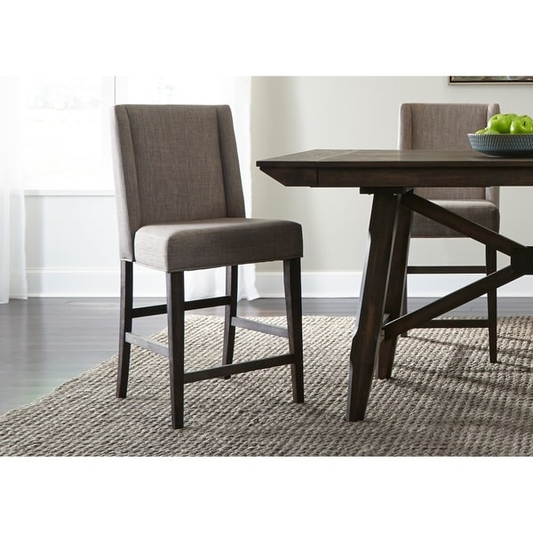 upholstered counter height chairs aeron chair adjust arms shop double bridge dark chestnut barstool on sale free shipping today overstock com 18617711