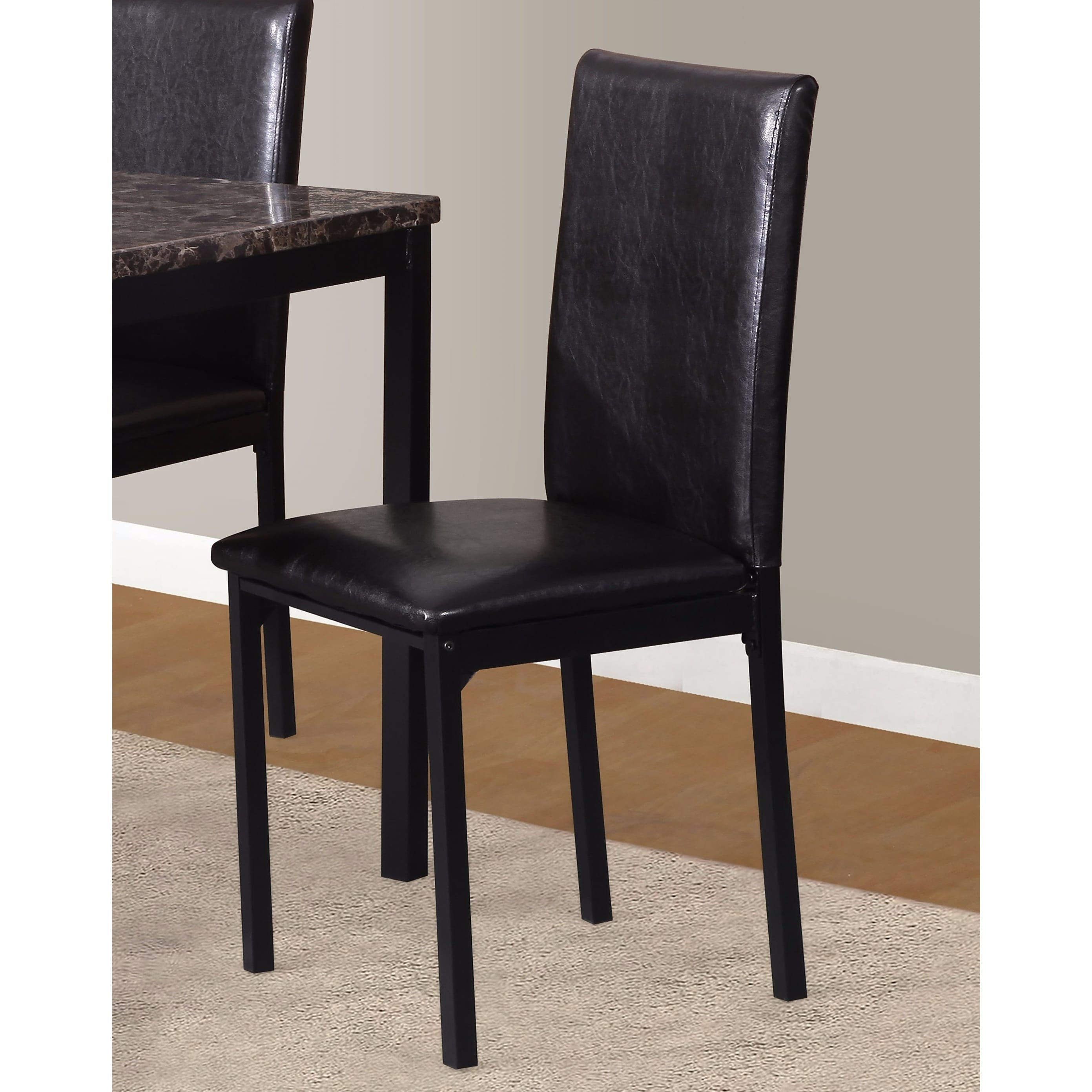 Black Metal Dining Chairs Noyes Faux Leather Seat Metal Frame Black Dining Chairs