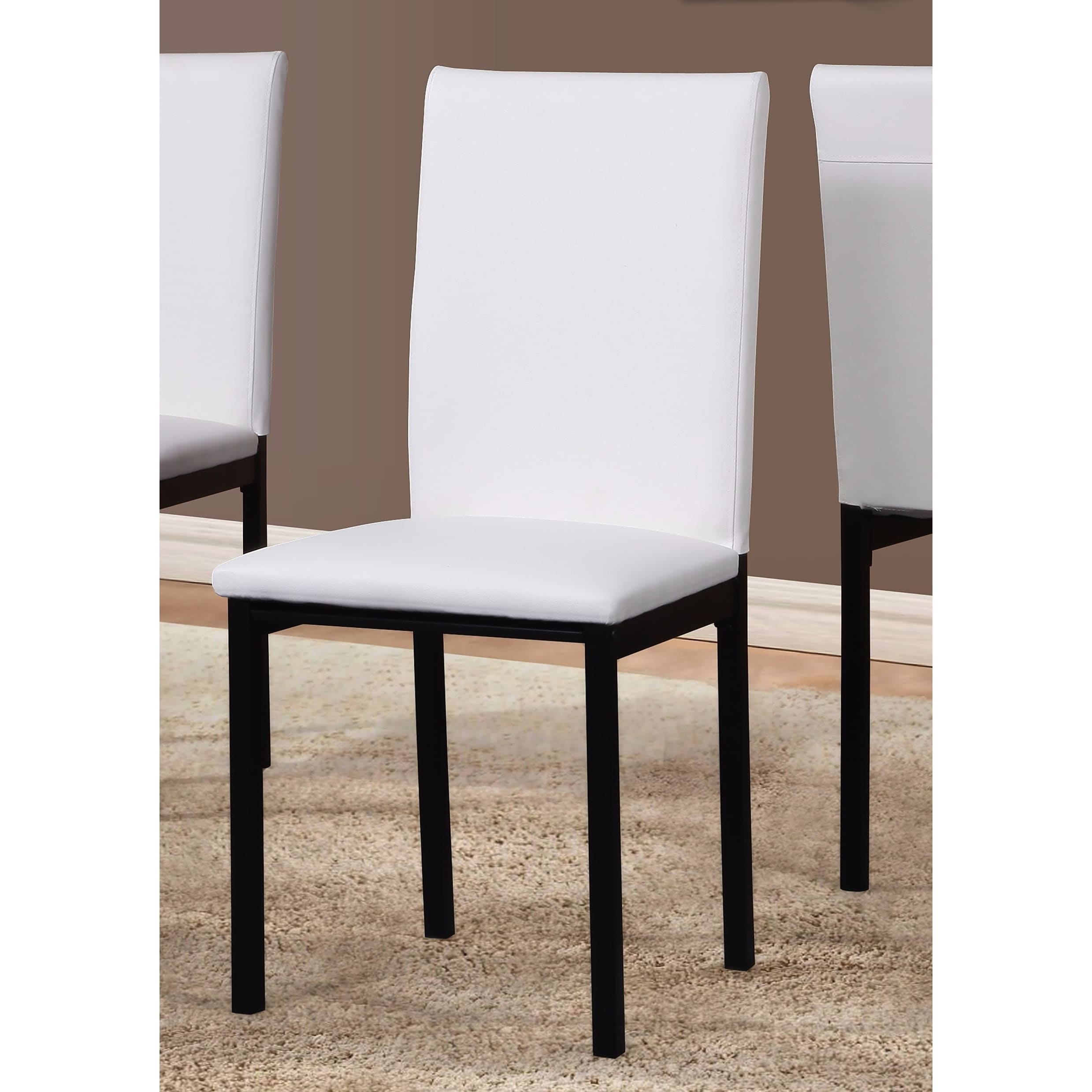 metal frame leather dining chair two table noyes faux seat black chairs set of 4 ebay