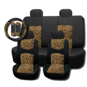 Cheetah Padded Seat Covers Steering Wheel Set 11pc - Toyota Corolla