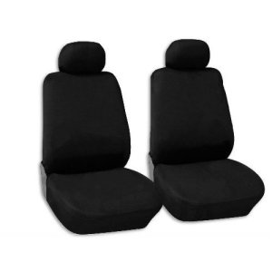Black Polyester Front Bucket Seat Covers Pair Low Back -Hyundai Accent