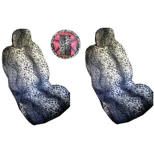 7 Piece Grey Snow Leopard Safari Auto Interior Gift Set & Seat Covers