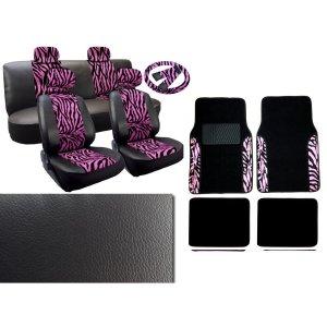 17 Piece Animal Print Seat Covers & 2 Tone Floor Mats , Pink Zebra