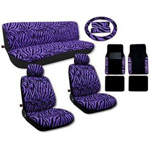 17 Pcs Animal Print Seat Covers & 2 Tone FloorMats Gift Set Purple
