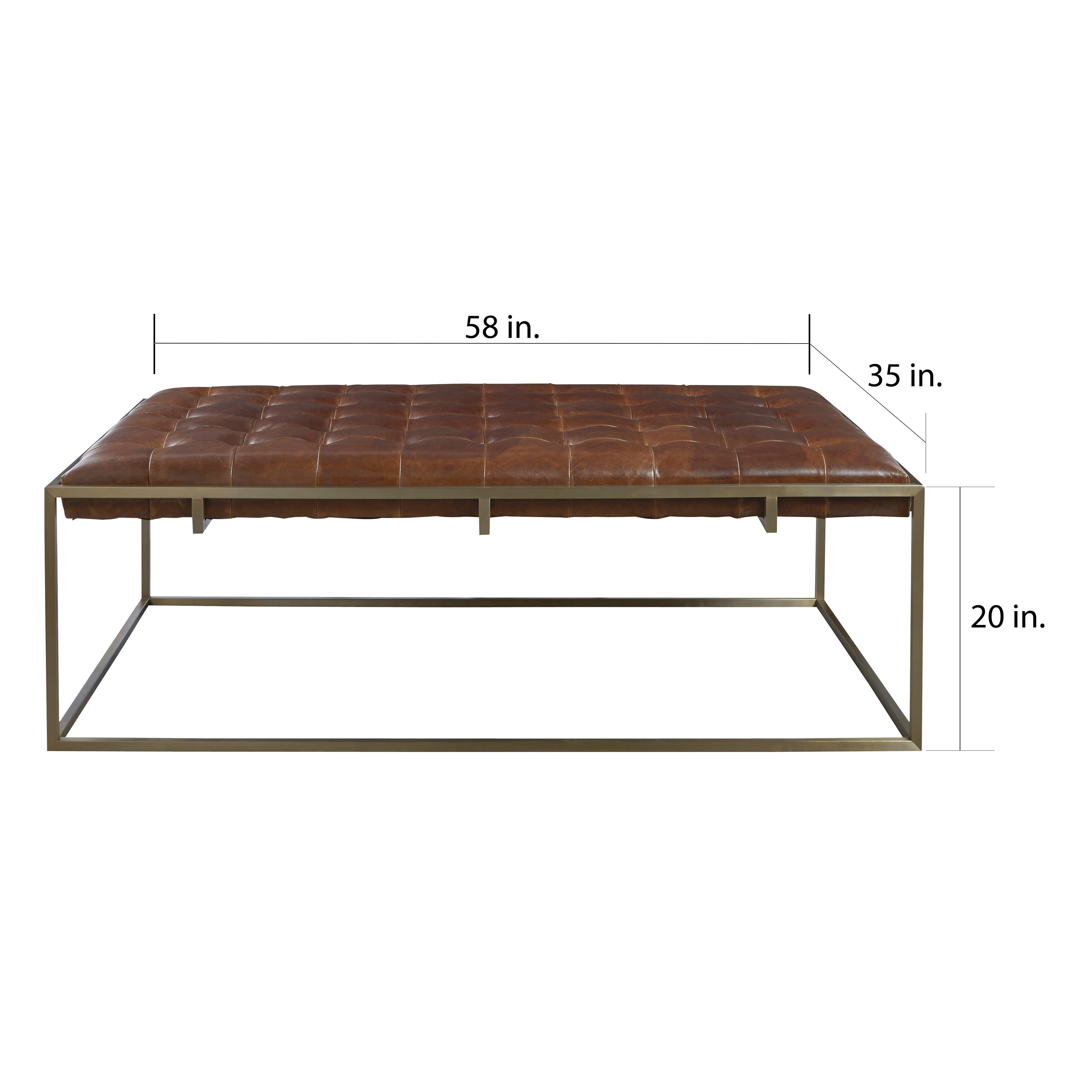 carbon loft yvette modern leather tufted rectangle cocktail table