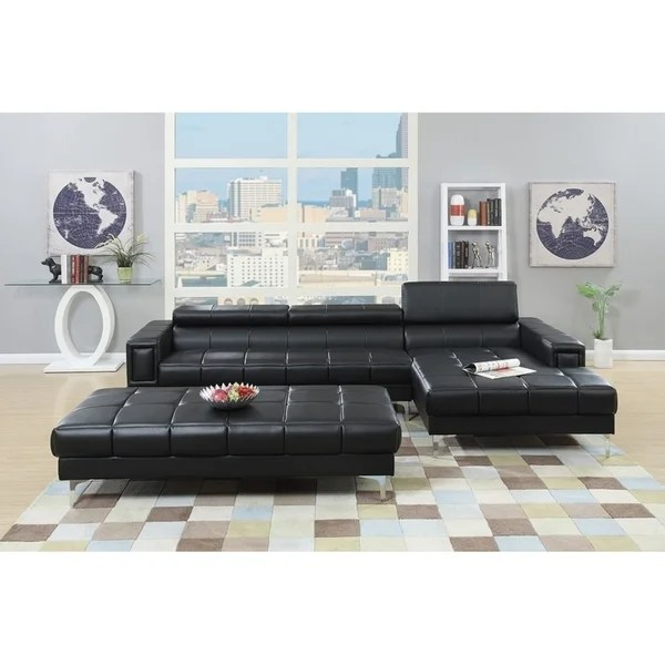 hayden sectional sofa with reversible chaise small sleeper shop bobkona bonded leather 2 pcs loveseat adjustable back ottoman included