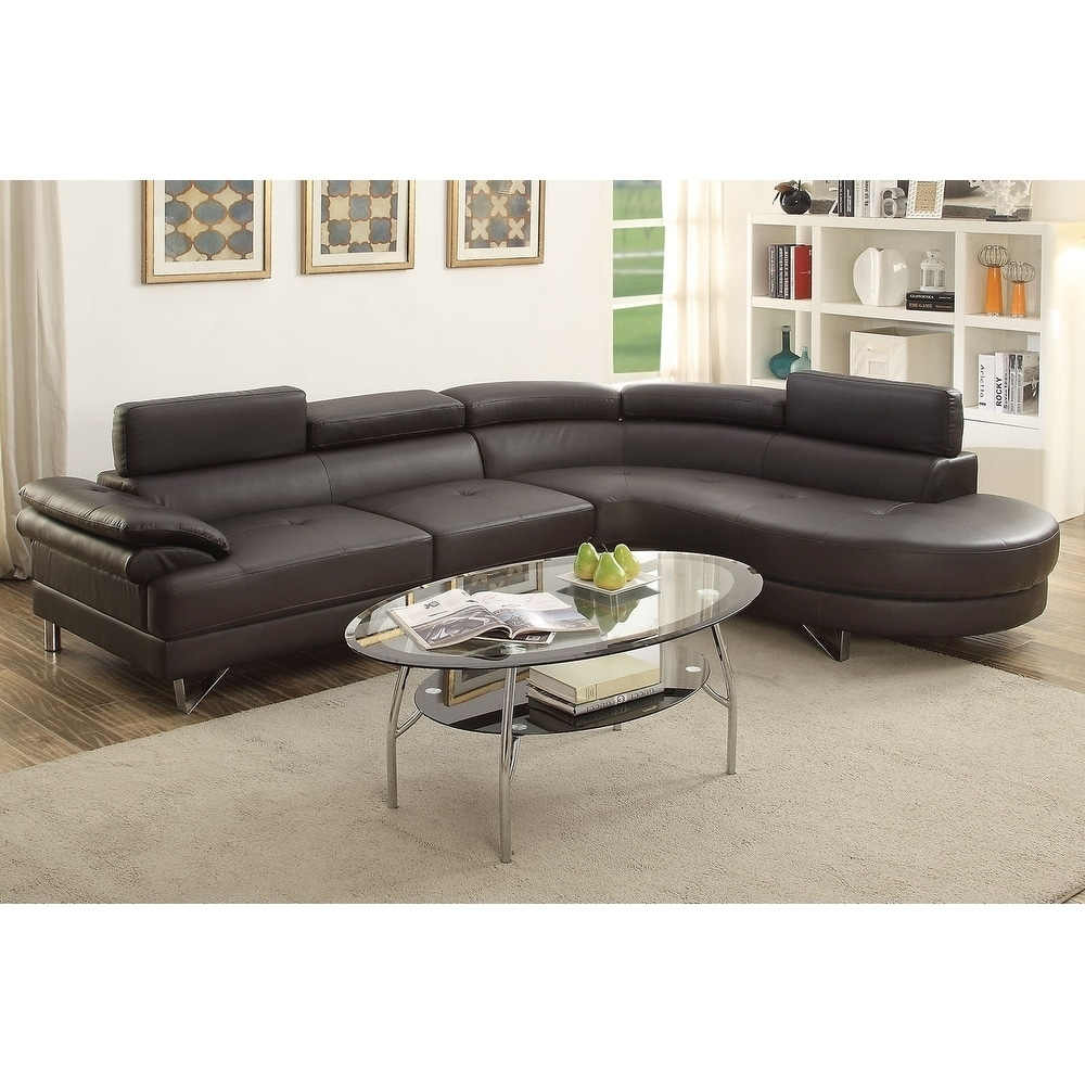 bobkona isidro faux leather sectional with adjustable headrest