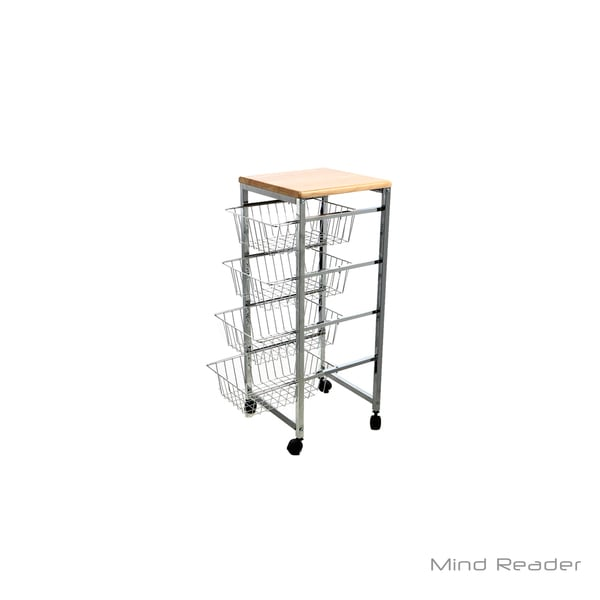Shop Mind Reader 4 Tier Wire Basket Cart with Wood Surface