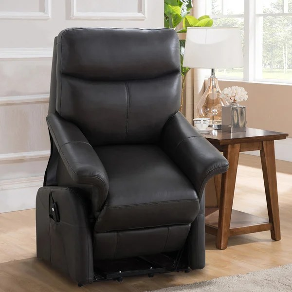 lift recliner chairs for sale swivel reclining uk shop isla grey top grain leather power and lay flat chair on free shipping today overstock com 18754815