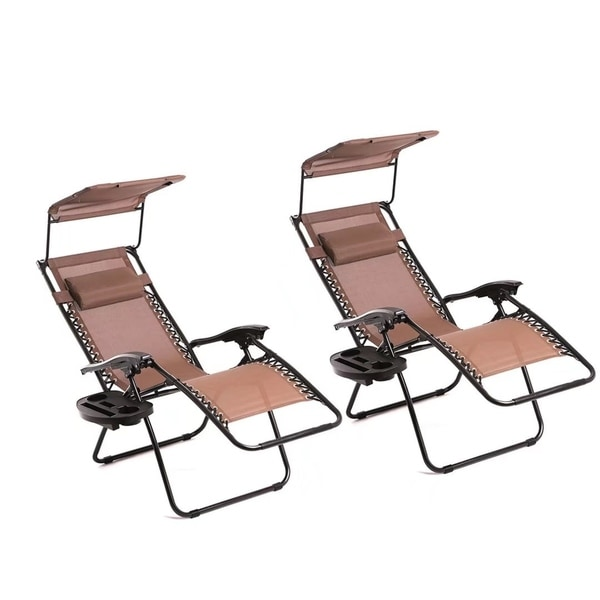zero gravity pool chairs senior citizen potty chair shop 2 pcs lounge patio with canopy cup holder free shipping today overstock com 18842058