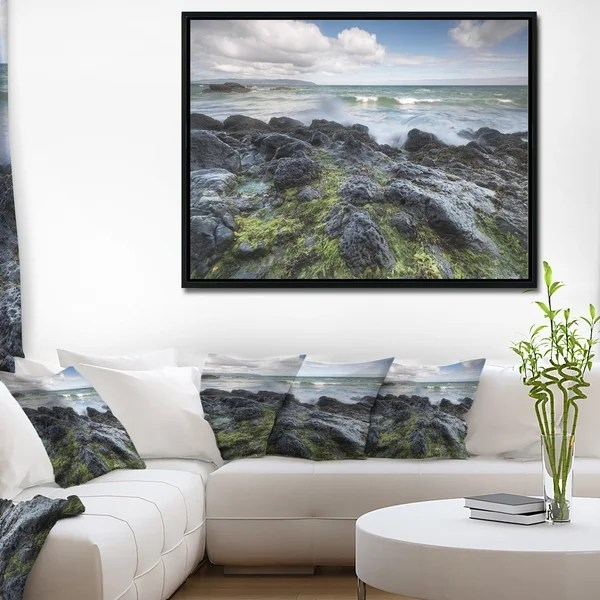 framed wall pictures for living room ireland cool furniture shop designart rocky north seashore photography x27 canvas art