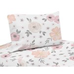 Sweet Jojo Designs Blush Pink Grey And White Watercolor Floral Collection 3 Piece Twin Bed Sheet Set Overstock 18965781