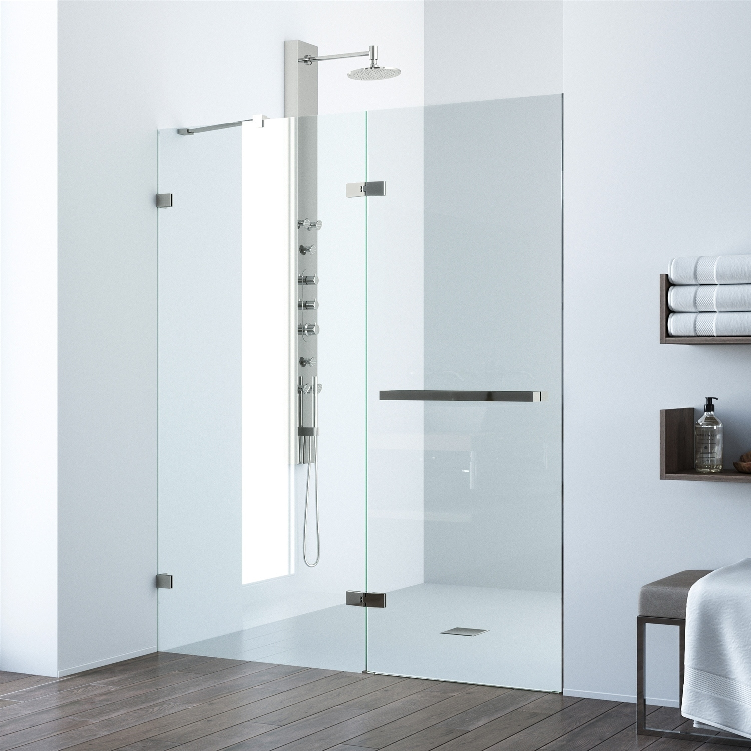 Details About Vigo Nyos Clear Adjustable Frameless Hinged Shower Door Clear