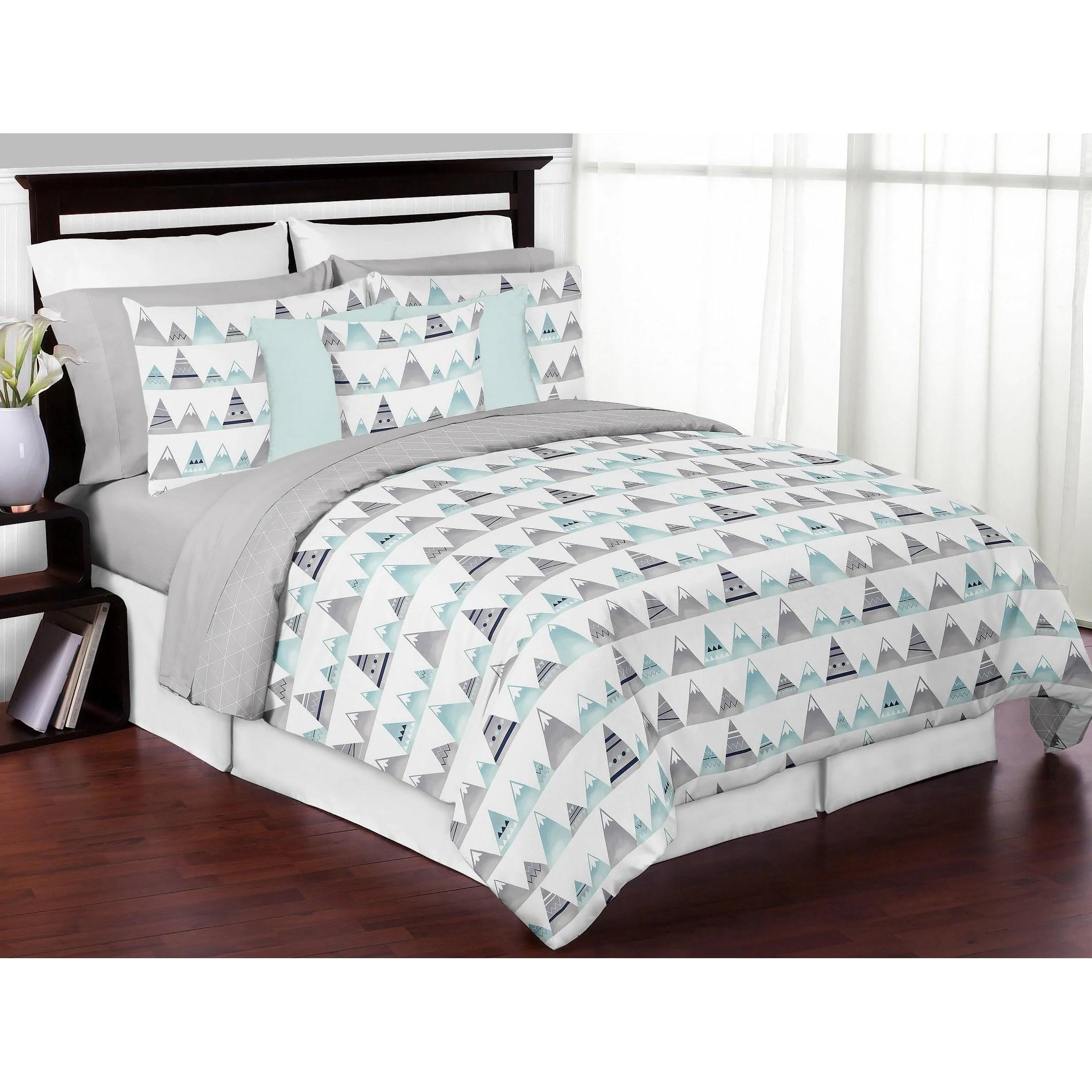 sweet jojo designs navy blue aqua and grey aztec mountains collection boy girl 3 piece full queen size comforter set