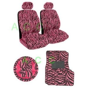 11Pcs Safari Auto Interior Gift Set 2 Pink Zebra Low Back Seat Covers