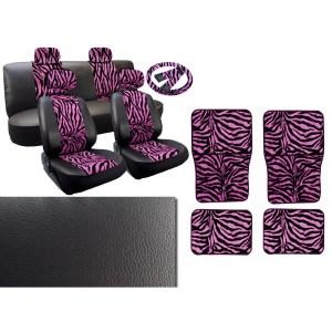 17Pcs Zebra Leatherette Seat Cover Set Mats Steering Set Black & Pink